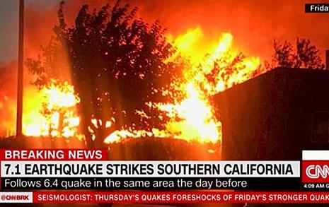 미국 캘리포니아서 규모 7.1 지진... 이틀 연속 강진 발생