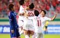 [오마이포토] 선제골에 기뻐하는 북한 여자축구 선수