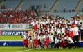 [오마이포토] 활짝 웃는 남북한 여자축구 '우리는 하나'