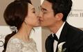 [오마이포토] 김인석-안젤라박, 결혼 골인 입맞춤
