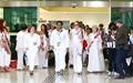 [오마이포토] 육로로 한국땅 밟은 여성운동가들