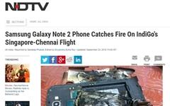 삼성 갤노트2, 인도 여객기 기내서 발화 사고