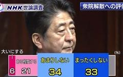 아베, '국회 해산' 역풍 맞았나... 지지율 30%대로 급락