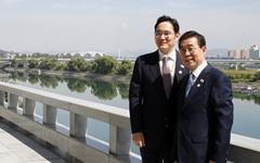 [오마이포토] 대동강변 기념촬영중인 박원순-이재용