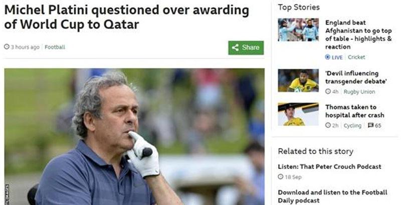 '축구 영웅' 플라티니, 카타르 월드컵 비리 혐의로 긴급 체포