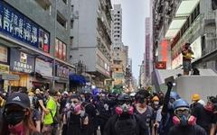 [오마이포토] 홍콩 시민들 경찰과 대치 '일촉즉발'