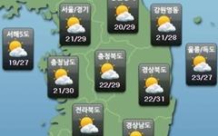 [내일날씨] '처서' 전국 구름 많음… 낮 기온 27~31℃