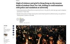 홍콩 시위 현장서 추락한 대학생 사망... 시위대 '분노'