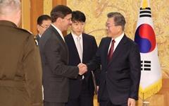 문 대통령-에스퍼 장관, '방위비 분담금' 논의 안했다