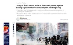 홍콩, 이번엔 '보안법' 반대 격렬 시위... 경찰은 '최루탄·물대포'