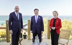 """한·EU 정상회담... 문대통령 """"한국 백신허브 역할할 것"""""""