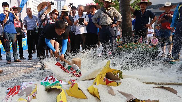 밥쌀용 쌀 수입에 분노한 농민들