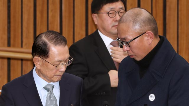 최순실 국조특위 증인 출석한 김기춘-차은택
