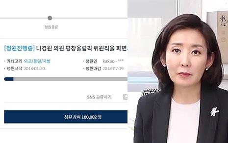 """3일만에 10만 서명  """"나경원 파면 필요"""" 뜨거운 열기"""