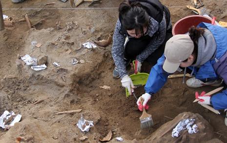 연필 대신 '호미' 들고  유해발굴에 나선 학생들