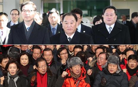방남한 김영철 미국 접촉? 한국당 저지 '인간방패'