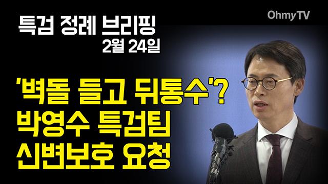 '벽돌 들고 뒤통수'? 박영수 특검팀 신변보호 요청