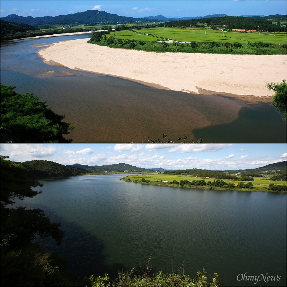 낙동강 물길 중에서 가장 아름다워서 '낙동강 제1경'으로 꼽힌다는 경북 상주시 경천대에서 바라본 낙동강의 모습이 4대강사업으로 인해 크게 변했다. (사진 위) 2009년 9월 최병성 시민기자 촬영. 넓은 모래밭이 펼쳐지고, 바닥의 고운 모래가 보일 정도로 맑은 물이 흐르고 있다. (사진 아래) 2015년 8월 26일 권우성 기자 촬영. 모래밭은 사라졌고, 준설작업으로 강의 깊이는 가름할 수 없고, 멀지않은 하류에 상주보를 건설해서 물이 가둬지면서 물이 가득하다.
