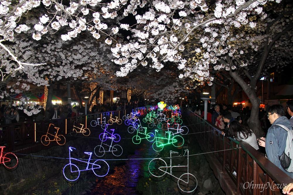 1일 밤 진해 여좌천 벚꽃.