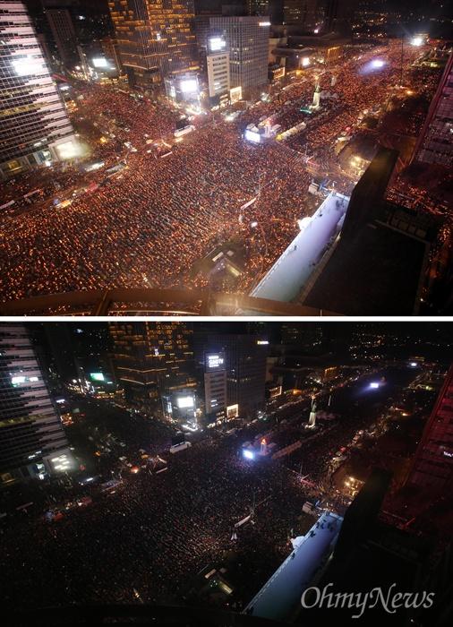 """""""박근혜는 퇴진하고 세월호 7시간을 밝혀라"""" 3일 오후 서울 광화문일대에서 열린 '촛불의 선전포고-박근혜 즉각 퇴진의 날 6차 범국민행동'에서 오후 7시경 수많은 시민들이 소등을 하고 있다. 소등퍼포먼스는 '세월호 7시간 밝히라'는 의미'에서 오후 7시에 행사가 진행됐다."""