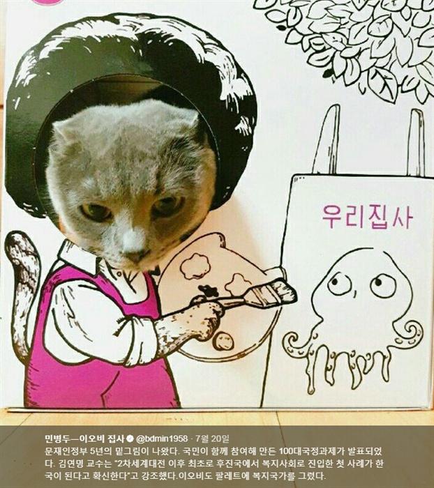 민병두 의원(더불어민주당, 동대문을)의 반려묘인 고양이 '이오비'.