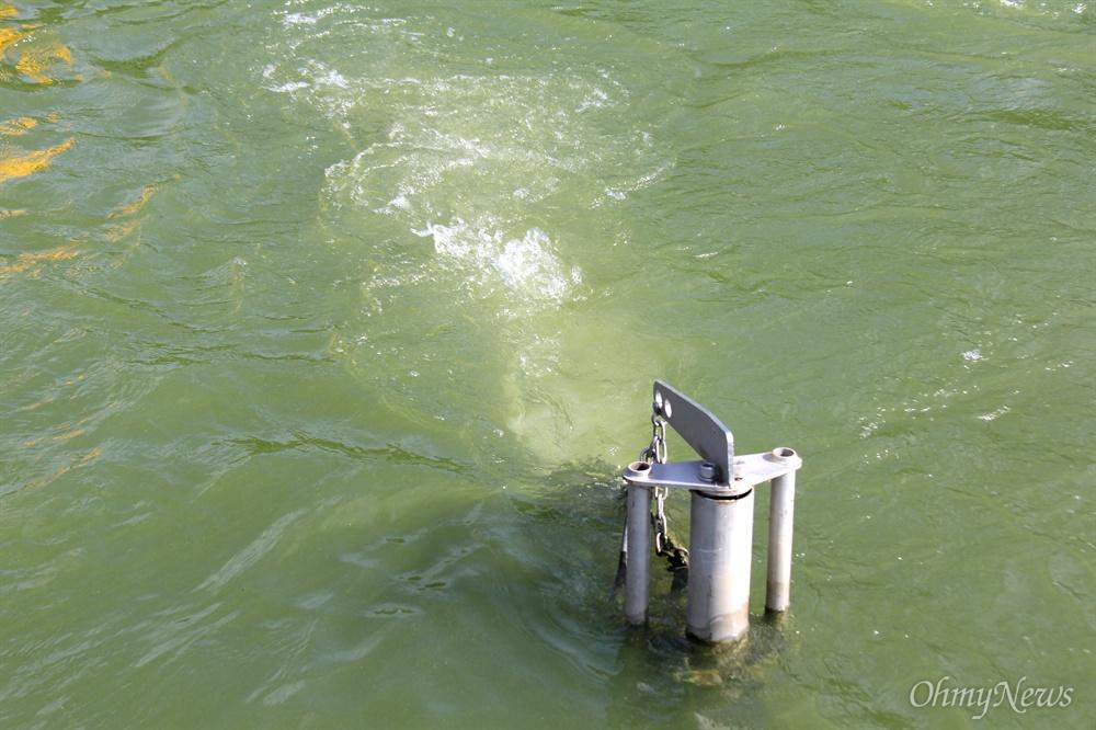 8월 19일 낙동강 창녕함안보 상류 선착장 부근에 녹조 저감시설인 폭기장치가 가동되고 있었지만 물 색깔은 녹색을 띠었다.