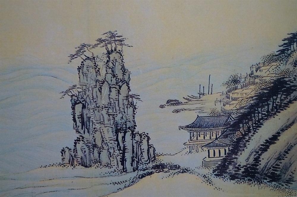 정선의 <청간정도>세부  옛날 청간정은 바닷가에 있었다. 옆에 만경루가, 앞에는 만경대가 있었다. 만경대에는 돌계단이 꼭대기까지 나있고 그 위에 두 사람이 신선놀음 하고 있다. (청간정 자료관에서 촬영)