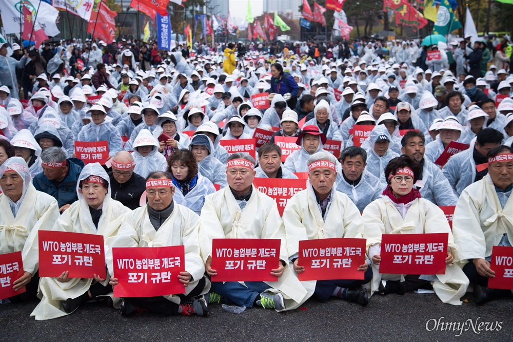 한국농축산연합회 회원들이 13일 오후 서울 여의도 국회 앞에서 WTO농업분야 개도국 포기 규탄 전국농민총궐기 대회를 열고 있다.
