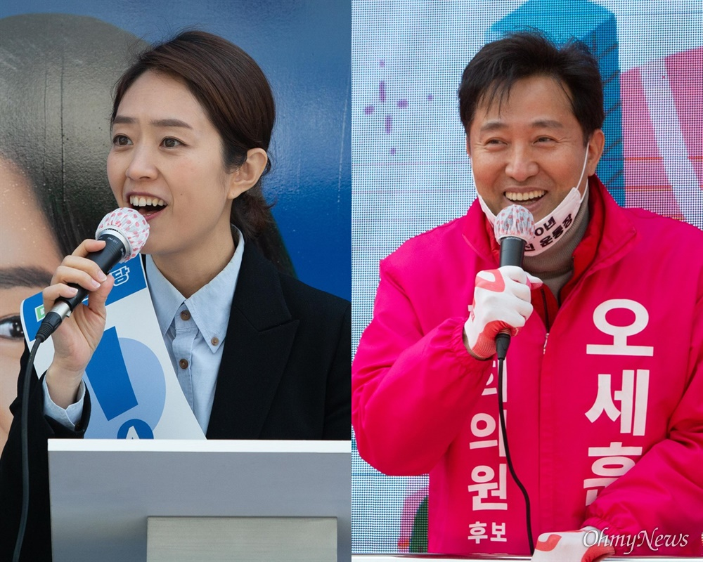 21대 총선 서울 광진구을에 출마한 더불어민주당 고민정 후보와 미래통합당 오세훈 후보.