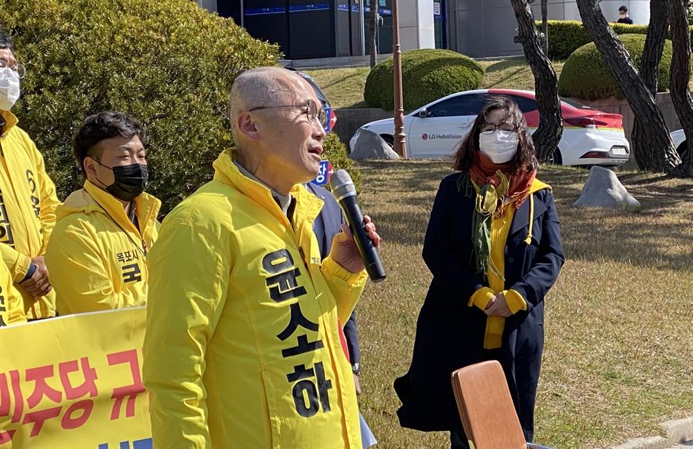 정의당 윤소하 후보 '삭발'