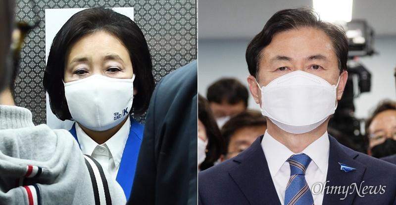 서울시·부산시장 보궐선거 후보로 나선 박영선, 김영춘 후보(왼쪽부터).