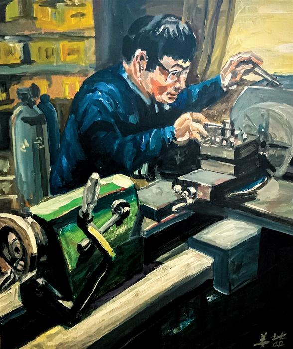 몰입(46x54cm, acrylic on paper, 2021) 작가는 가슴에 와닿는 세계만 그린다. 우리 동네, 공장, 사람들이 작품의 주인공이다. 때론 스스로를 담는다. 그에겐 '그림 그리는 일'이 곧 '기계 다루는 일'이다.