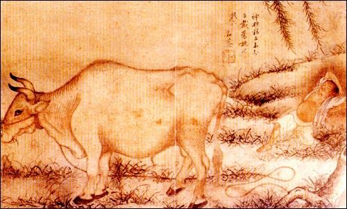 여유  큰 황소 한 마리가 한가롭게 풀을 뜯고, 그 옆에는 소 몰러 나온 아이가 낮잠을 즐기고 있는 그림입니다. 정신없이 바삐 돌아가는 세상에서 여유가 무엇인지 잘 보여 주고 있습니다. 그러나 저 소를 누군가 훔쳐간다면 그야말로 재앙의 시작일 것입니다. 김두량 <목우도>