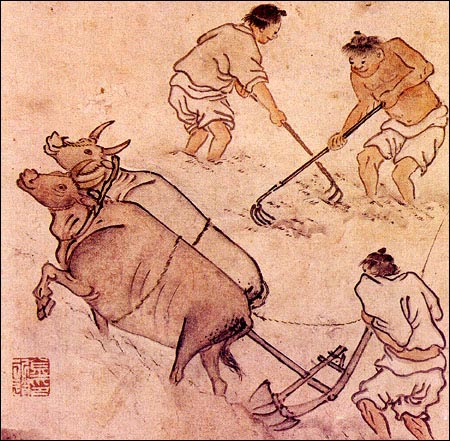 논갈이 김홍도가 그린 <논갈이>입니다. 논을 깊게 갈아야 벼의 뿌리가 잘 자라므로 소의 힘은 곧 농사의 질을 결정하는 중요한 요소였습니다. 이렇게 소 두 마리가 끄는 쌍쟁기는 보통 토질이 딱딱한 곳에서 이뤄졌습니다. 만약 쟁기를 사람이 끈다면 장정 대여섯은 매달려야할 것입니다.