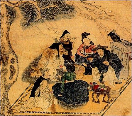 양반들의 고기굽기 조선시대 양반님네들이 몰래 모여 화롯불에 고기를 구워 먹고 있는 모습입니다. 추운 겨울날에 소나무 아래 오밀 조밀 모여 앉아 구워 먹는 고기의 맛은 일품이었을 것입니다. 그 맛에 취해 소의 밀도살도 쉽게 사라지지 않았습니다. 작가미상, 1800년대 작품