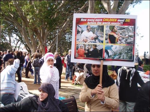 호주와 미국의 이라크 침공을 반대하는 시드니 시위.