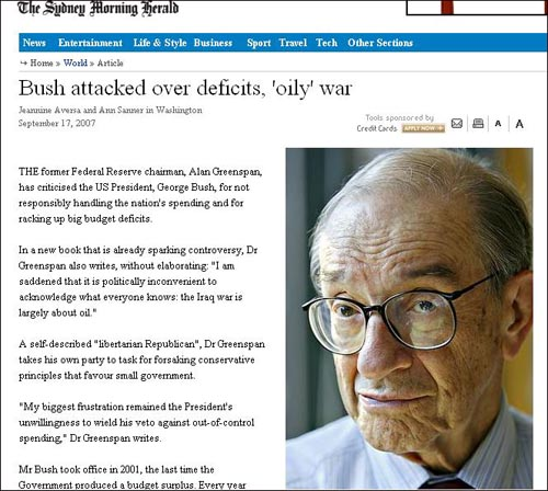 그린스펀 전 미 연준 의장의 이라크전쟁 관련 발언을 보도한 <시드니모닝헤럴드>.