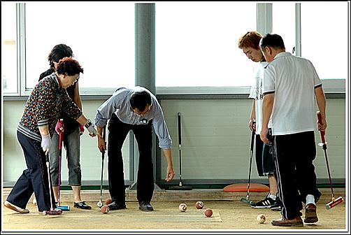 연습 처음 해보는 게이트볼 경기를 위해 맹 연습중