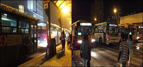 (왼쪽) 9번 시내버스 3대를 비롯해 차량 5대가 나란히 우성아파트 앞 정류장에 정차해 있다. / (오른쪽) 경계석 안쪽의 1번과 9-6번은 5분, 경계석 바깥쪽의 9-2번과 1-5번은 30초 정차하고 있었는데, 당시 1번은 강변역 우성아파트 정류장 앞에 총 5대, 9-6번은 3대, 9-2번과 1-5번은 각 1대씩 정차중이었다.