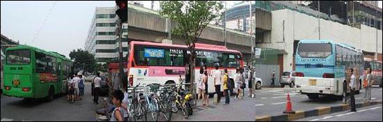 (왼쪽) 2223번 지선버스에 타는 승객들. 횡단보도 이전까지 2·3차선을 달리다 급격한 우회전을 통해 삼거리 한복판에서 승객을 승·하차하도록 하고 있다. 사진 우측의 노점 옆 차도가 2223번 지선버스 승객들의 대기 장소이다. / (가운데) '짱박기 노선'을 피해 정차한 '청진동해장국 앞'에서 용인행 5800번 직행좌석버스에 타는 승객들. 강변역에서 3~4분 정도 떨어진 먼 곳에 있다. / (오른쪽) '짱박기 노선'을 피해 경계석에서 승객 승·하차를 시도하는 것은 승객 짐이 많은 공항리무진 또한 마찬가지이다.