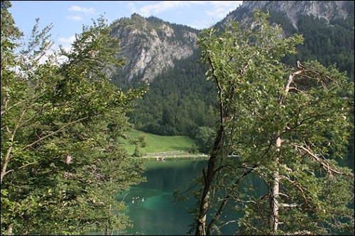 알프제 호헨슈방가우의 녹색빛 호수, 호수 잔디밭에서 일광욕을 즐기는 여행자들을 만날 수 있다.