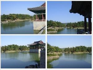 안압지의 풍경 가을하늘의 푸른 빛을 담고 있는 연못