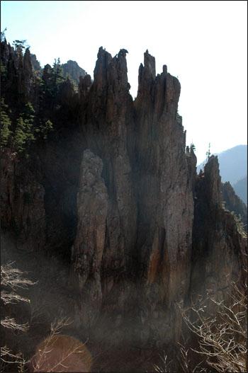 절부암 도끼로 찍어 갈라져 결이 고운 모양을 하고 있는 절부암. 바위의 끝은 날카로운 도끼모양을 하고 있다.