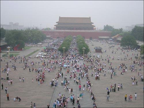 1420년에 명제국이 베이징에 건설한 거대한 자금성.