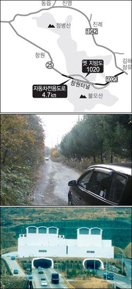 창원과 김해 장유를 잇는 창원터널을 자동차전용도로에서 해제해야 한다는 목소리가 높다. 맨 위 사진은 불모산과 창원터널 지도, 가운데 사진은 폐도나 마찬가지인 지방도, 아래 사진은 창원터널 입구 모습.