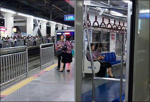 얌체 승객 사례① 왼쪽에 보이는 2번 플랫폼에서 급행전철 열차를 기다리는 대다수 일반 시민과 달리 3번 플랫폼에서 급행전철 열차를 기다리는 두 아주머니 (왼쪽), 왼쪽 사진의 급행전철 열차가 도착 후 승차하여 앉아 있는 두 아주머니 (오른쪽)