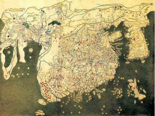 세계지도. 혼일강리역대국도지도. 태종 2년에 제작된 지도로서 현존하는 동양에서 가장 오래된 세계지도이다. 국내에는 인촌 기념관에 소장되어 있으며 일본 류꼬꾸대학 소장본이 있다. 제주도와 대마도가 한반도를 받쳐주고 있다.