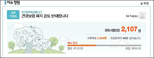 포털사이트 다음에서 진행 중인 '건강보험 폐지 검토 반대' 청원 서명. 발의된지 하루 만에 2천명이 넘는 네티즌들이 서명에 나서고 있다