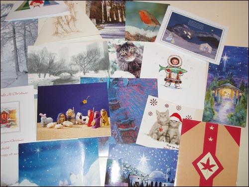 영국 사람들에게 받은 많은 카드들