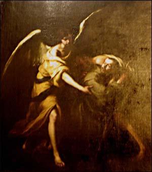 교회 회랑석에 걸려있는 무리요의 그림 무리요의 'San Juan of God transporting a patient'